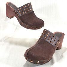 Matt Bernson Sabot Suede Clogs Wood Heels Copper Spikes Womens Size 6.5M Brown