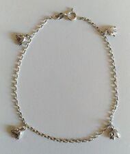 Bracelet en argent mailles forçat avec charms / 25 cm