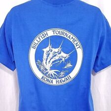 Billfish Tournament T Shirt Vintage 80s Marlin Fishing Kona Hawaii USA Large