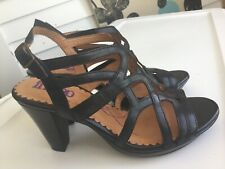 INDIGO By Clark Sz 6.5 Black Strappy Leather High Heel Caged Comfort Sandals NEW
