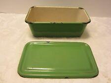 "Vintage ENAMELWARE Green Refrigerator Box Storage Dish Pan w/LID 1930's 8 7/8"" W"