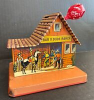 VINTAGE BAR X DUDE RANCH TIN LITHOGRAPH COIN BANK LOLLIPOP HOLDER COWBOY