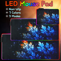 Oversized Colorful LED Lighting RGB Gaming Mouse Pad Keyboard Mat for PC  N