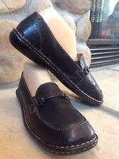 Born Women's Slip On Black Leather Flats Loafers US 10. Euro 42 Nice!