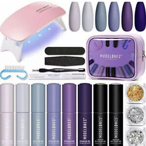 Modelones Gel Nail Kit LED Nail Lamp 6 Colors Purple Gray Series Varnish Polish