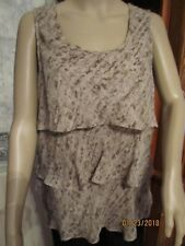 MICHAEL KORS HAND WASHABLE POLYESTER BROWN/BEIGE SLEEVELESS TOP-SZ 12P