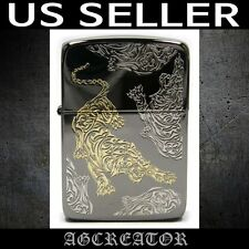 New Japan Korea Zippo lighter 1941 tiger black ice 3 sides engraved US SELLER