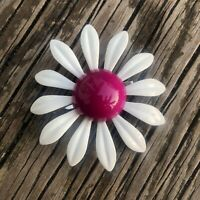 Vintage Fuchsia Pink Enamel Flower Brooch Metal Mod Floral Pin 50s 60s White