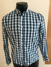 Mens Easy Brand Casual Checked Shirt Long Sleeve Smart M 40 Fitted Green White