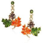 Maple Fall Leaves Dangle Post Earrings Thanksgiving Halloween Fall Jewelry