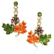 Maple Fall Leaves Dangle Post Earrings Thanksgiving Halloween Fall Jewelry