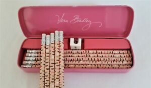 Vera Bradley Blush Pink Pencil Set with Tin Metal Box 10 Pencils Sharpener NWT
