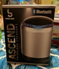 Bass Jaxx Ascend Wireless Bluetooth Silver Speaker - LED Light Up Rechargeable