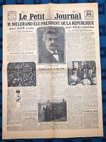 La Une Du Journal Le Petit Journal 24 Sept 1920 Élection Alexandre Millerand