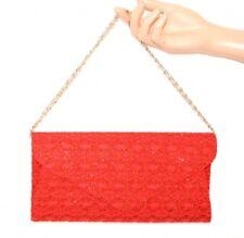 BOLSO Roja CLUTCH bag pochette  mujer encaje bordado cadena plata handväska E155