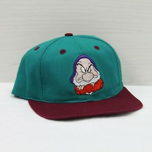Vintage Snow White 7 Dwarfs Grumpy Disney Youth Snapback Hat Cap 90s