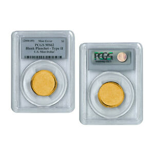 2000-10 Mint Error, Type 2 US Mint Dollar Blank Planchet, PCGS MS62