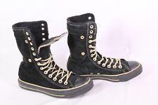 31D Converse Schnürstiefel High-Top Sneakers Leder schwarz Gr. 37 gefüttert