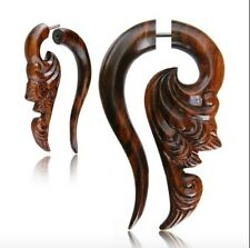 """PAIR 18G SONO WOOD FAUX FAKE CHEATER PLUGS CARVED 2"""" INCH TRIBAL GAUGES TALONS"""