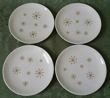 "SET ( 4 ) VINTAGE 60's ROYAL CHINA STAR GLOW PATTERN 6 3/8"" PLATES BREAD SALAD"