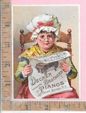 DECKER BROTHERS PIANOS UNION SQUARE NEW YORK ESTEY ORGAN CO ADV TRADE CARD