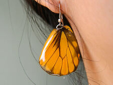 ONG REAL Butterfly Wings Earring Jewelry 925 sterling Hook Yellow