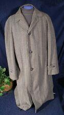 Vintage 1950s 60s KENTCRAFT Black & Brown Twee Wool Top Coat Overcoat  Sz 37