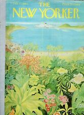 1962 New Yorker COVER ART Ilonka Karasz View from Tropical Jungle to Cruise Ship