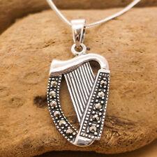 """Argent sterling 925, Collier harpe marcasite, 16 """"Chaîne, irlandais, celtique,"""