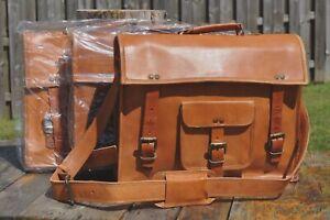 (3) Three New Genuine Leather Briefcases Bags Brown Antique Vintage Look