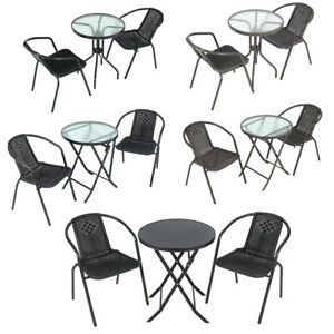 Garden Bistro Patio Furniture Set Glass Table 2/4pc Stacking Chairs Rattan Cafe