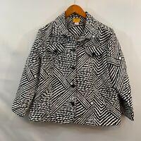 Ruby Rd Womens White Zebra Striped Button Front Cropped Jacket Blazer Size 18