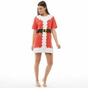 NEW Ladies 100% Cotton Brave Soul 'Santa Baby' Red Nightie Nightwear/Loungewear