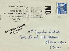 X226 UNIVERSITE DE PARIS- CONVOCATION EXAMEN Taxe Simple serie moderne 1952
