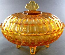 VINTAGE AMBER GLASS FOOTED CANDY DISH WITH LID (C23)