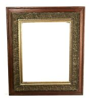 Antique 19th C Victorian Oak Wood and Gold Ornate Gesso Picture Frame Fits 20x16