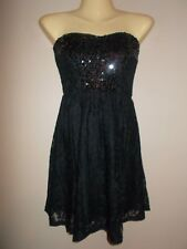 Wet Seal NWT Sequined  & Lace Black Strapless Evening Mini Dress $29.50