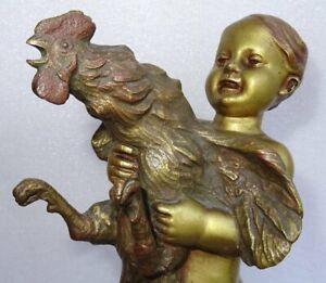 Enfant Au Coq en Bronze doré Signé Oscar De Beul