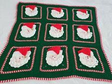 Handmade 50x53 Crochet 3D Santa Afghan Vintage Christmas Throw Blanket Green Red