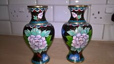 Pair Chinese Cloisonne vases bright colours nice condition