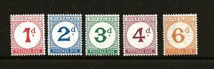 NYASALAND  (Z-743) 1950 SG-D1-5 POSTAGE DUE SET VERY FINE UMM / MNH