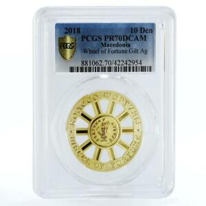 Macedonia 10 denars Wheel of Fortune PR70 PCGS gilded silver coin 2018