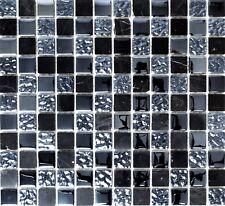 Mosaico piastrella vetro pietra nero grigio muro bagno: 62-0302-GN_b| 1 foglio