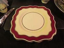 "Wedgwood W 3003 8-3/8"" Square Salad Plate Maroon & Cream Border"