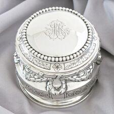 19C Antique German Solid Silver Tea Caddy Bonbon Sugar Box Pot Trinket Case Lid