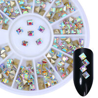 Nail Rhinestone AB Color 3mm Rectangle 3D Nail Art Decoration in Wheel Tips