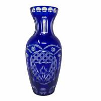 Czech Bohemian Art Glas Cobalt Blue Cut to Clear Crystal Glass Vase Mid Century