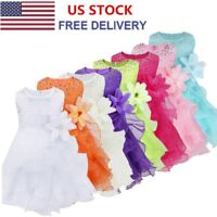US Newborn Baby Flower Pageant Princess Dress Girls Wedding Party Tutu Dress