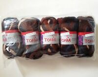 Schoeller-Stahl Tonia Yarn Brown Blue 5 Skein LOT Ruffle Scarf Ribbon Fishnet