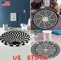 3D Swirl Print Optical Illusion Area Rug Carpet Anti-Slip Floor Pad Doormat Mat